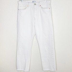 Zara White Denim Frayed Hem Hi Rise Ankle Jeans